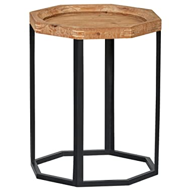 Stone & Beam Arie Rustic Octagonal Side End Table Stand, 17.3 W, Natural