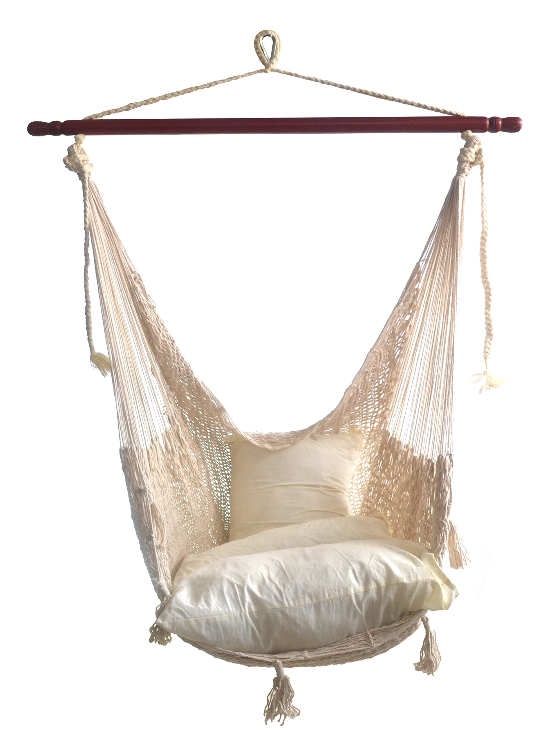 Hammocks Rada - CHAIR HAMMOCK DELUXE (Natural) - - THE BEST CHAIR HAMMOCK MAYAN STYLE , this Chair Hammock is elegance, wider, comfy, soft, make with natural cotton fibers - HIGH QUALITY, the Chair is make with tight weave using Thicker Strings in Cotton - RESISTANT, the Cotton Thicker Strings make strong the Chair Hammock and the Nylon Rope is make with Nylon Strings offering strength in all its components - patio-furniture, patio, hammocks - 816cd oIAtL -