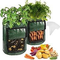 عبوة من 2 أكياس نمو البطاطا سعة 10 جالون - أكياس تنمو النباتات مع فتحات للصرف وباب ومقابض، وحقيبة حديقة وعاء نباتي لنمو…