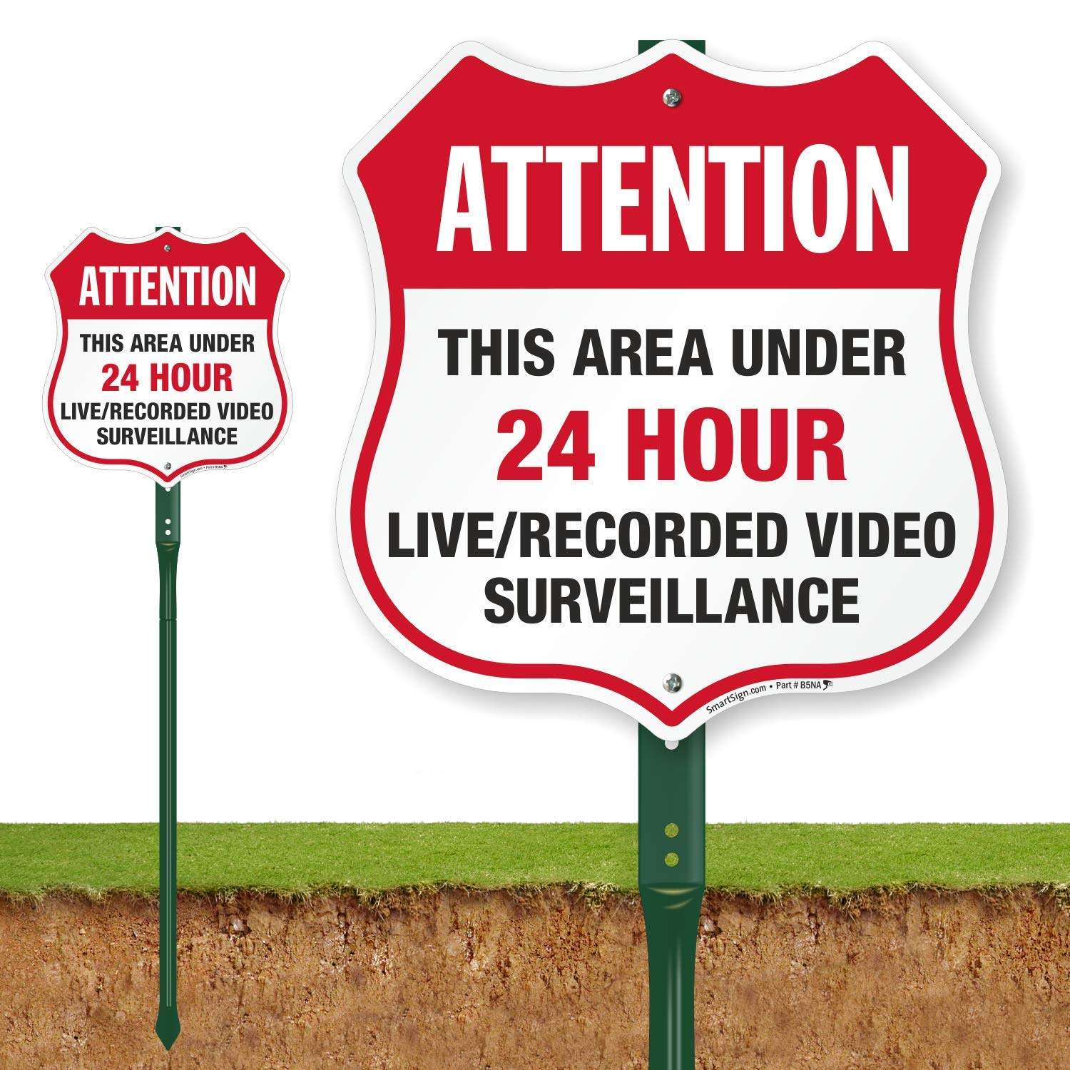 SmartSign''Attention - This Area Under 24 Hour Live/Recorded Video Surveillance'' Shield Sign | 12'' x 11.5'' Aluminum Sign with 3' Tall Stake by SmartSign