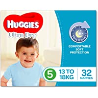 Huggies Ultra Dry Nappies, Boys, Size 5 Walker (13-18kg), 32 Count