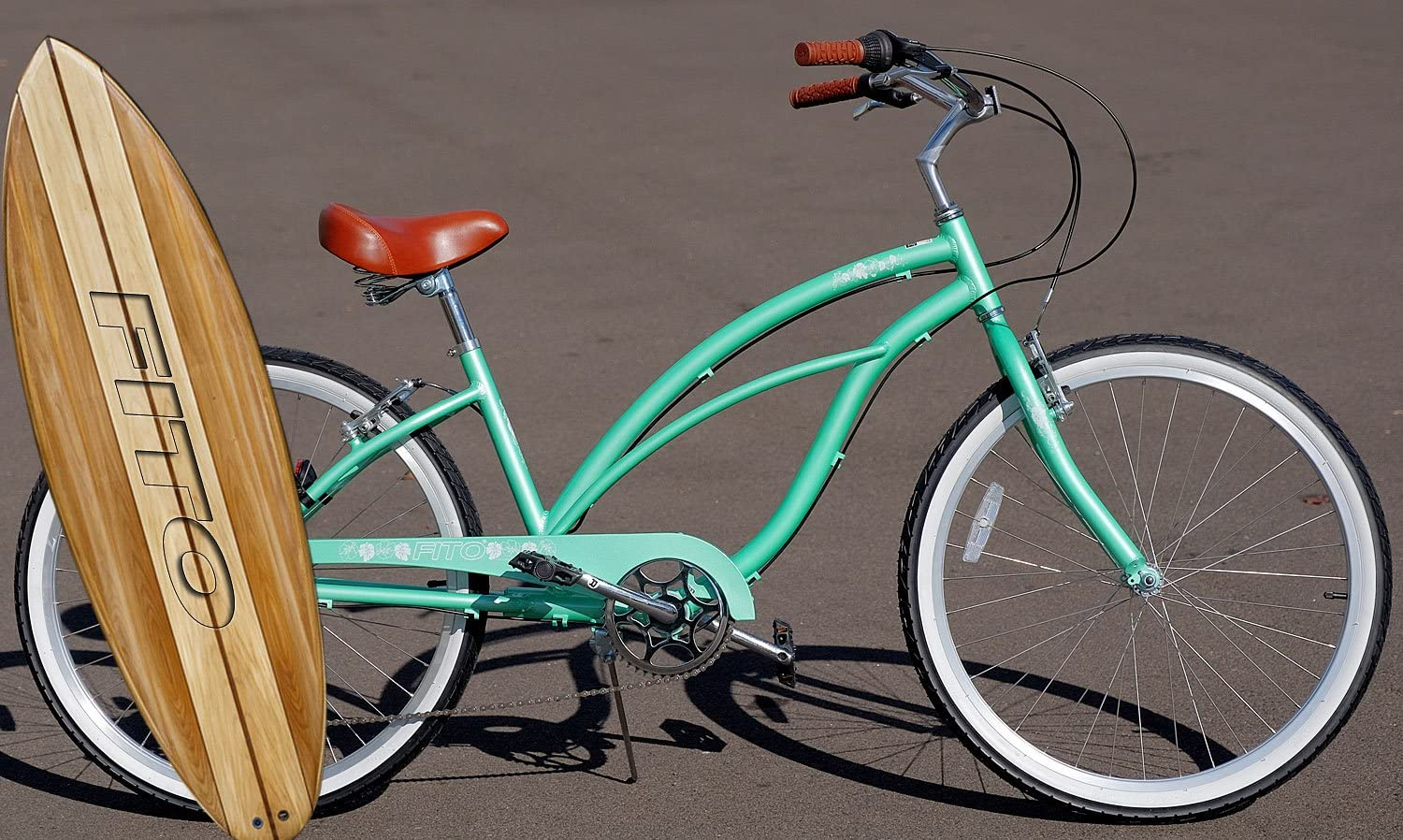 Fito Anti Rust Light Weight Aluminum Alloy Frame, Marina Alloy 7-Speed for Women – Mint Green, 26 Wheel Beach Cruiser Bike Bicycle
