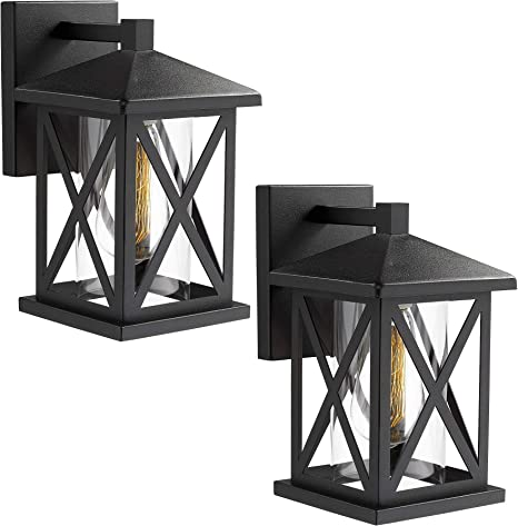 Amazon Com Jazava Outdoor Wall Mount Light Fixtures 2 Pack Industrial Exterior House Lights Wall Sconce Lantern 10 3 Inches Height Porch Lights Matte Black Finish With Clear Glass Home Improvement