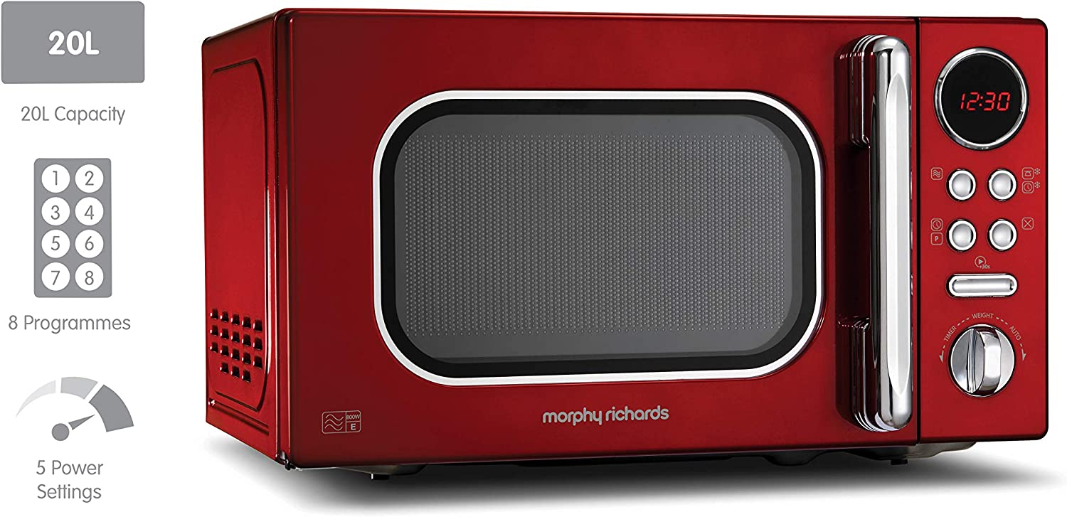 Morphy Richards Microwave Accents Colour Collection 511501 20L Digital Solo Microwave Cream Red