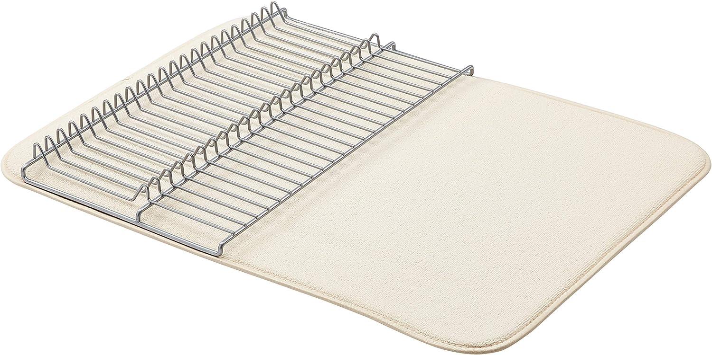 Amazon Basics Large Drying Rack – 18×24″ (46x70cm) (46x70cm) – Linen/Nickel, With 2 Mats