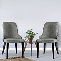 Artiss 2 x Dining Chairs, Fabric Upholstered Dining Chairs with Steel Legs, Grey