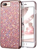 """iPhone 7 Plus Case,iPhone 6 Plus Case,ESR Glitter Sparkle Dual Layer Shockproof Hard PC Back[Support Wireless Charging]+TPU Inner Shell for 5.5"""" iPhone 7 Plus/6 Plus(Rose Gold)"""