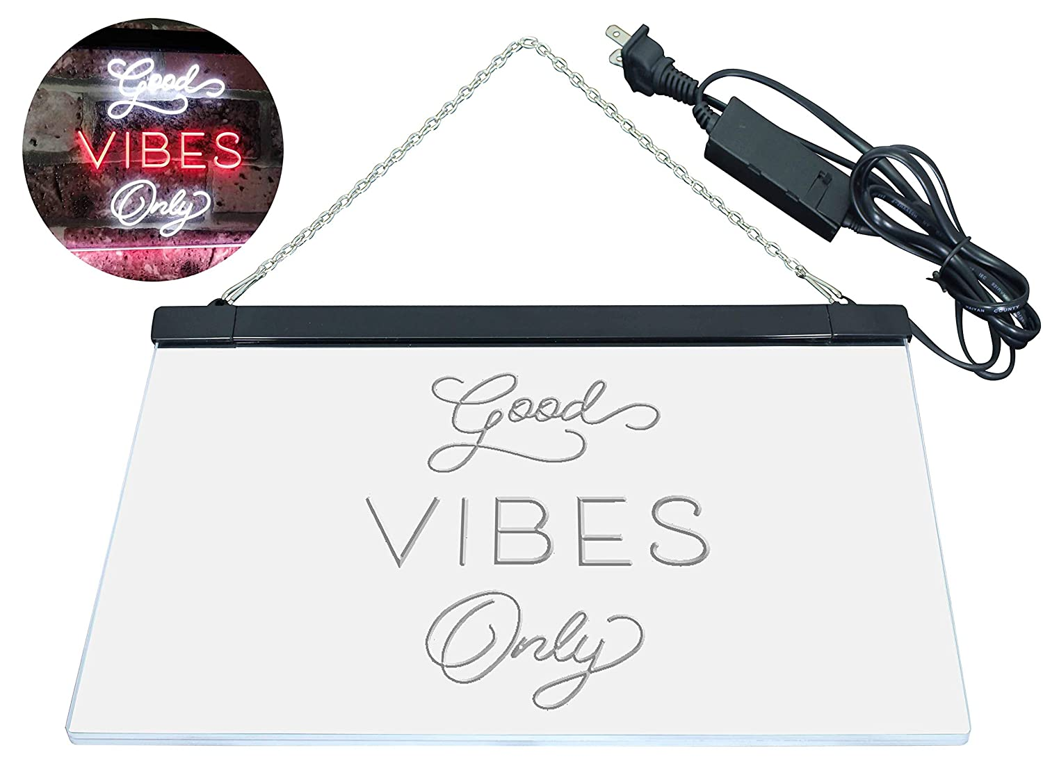 AdvPro 2C Good Vibes Only Home Home Home Bar Disco Room Display Dual Farbe LED Barlicht Neonlicht Lichtwerbung Neon Sign Weiß & ROT 400mm x 300mm st6s43-i3076-wr 4d7c80