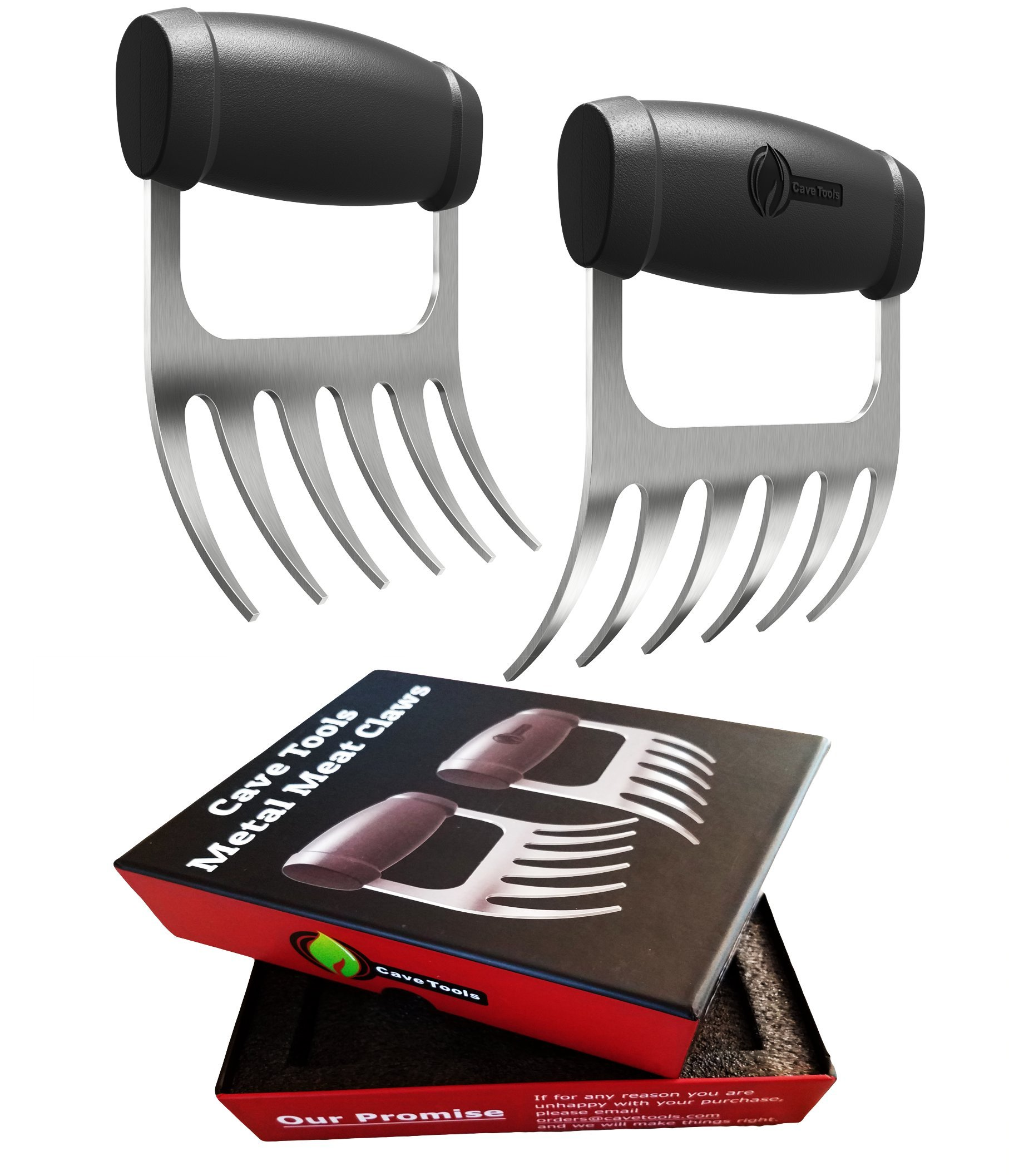 Cave Tools Meat Claws - Stainless Steel Pulled Pork SHREDDERS - BBQ Forks for Shredding Handling & Carving Food from Grill Smoker or Crock Pot - Metal Barbecue Slow Cooker Handler Accessories