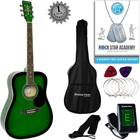 Stretton Payne Dreadnought - Guitarra acústica (tamaño completo, acero D1), color verde