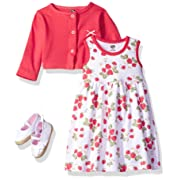 Hudson Baby Girls' 3 Piece Dress, Cardigan, Shoe Set, Strawberries, 0-3 Months (3M)