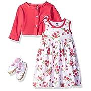 Hudson Baby Baby Girls' 3 Piece Dress, Cardigan, Shoe Set, Strawberries, 3-6 Months (6M)