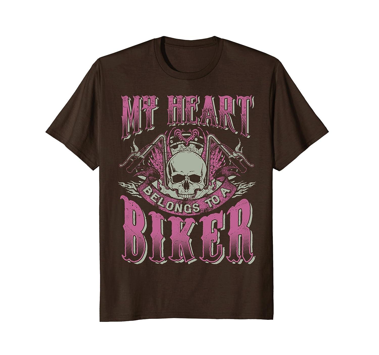 Biker Chick Shirt Motorcycle Skull Heart Belongs To A Biker-mt