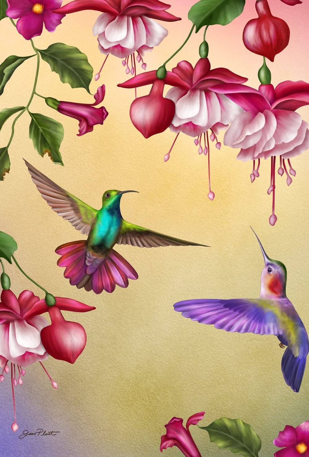 Amazon Com Toland Home Garden Thirsty Hummingbirds 12 5 X 18 Inch Decorative Colorful Spring Flower Flying Bird Garden Flag Garden Outdoor