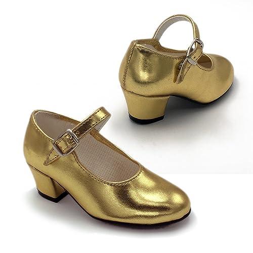 b288cc919 FLAMENKITAS Calzado de Danza para Mujer - Zapatos Flamenca Correa - Hecho  EN España - Color - Metal Oro