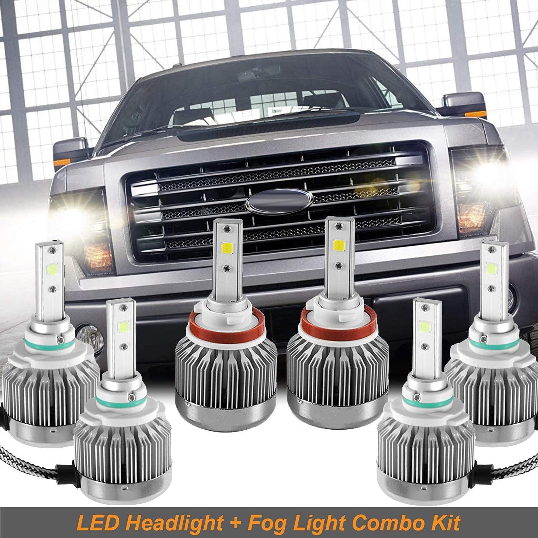 Fog Lights 9145 9140 For 2015-2017 Ford F-150 H11 9005 LED Headlight Hi Lo Beam