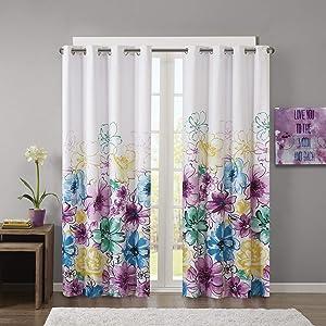 Intelligent Design Olivia Blackout Bedroom, Casual Darkening Window Living Room, Floral Print Grommet Black Out Curtain, 1-Panel Pack, 84