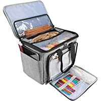 ProCase Knitting Bag, Yarn Storage Organizer Tote Bag with Cover and Inner Divider for Projects, Circular and Straight…