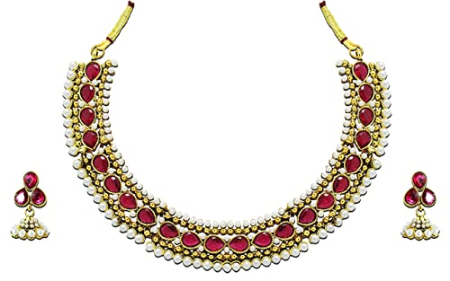 54bea6ae1 Image Unavailable. Image not available for. Colour  Zaveri Pearls Jewellery  Set for Women (Pink) ...