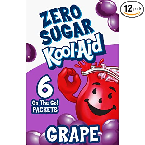Kool-Aid Grape Sugar Free Powdered Drink Mix (72 On-the-Go Packets, 12 Packs of 6)