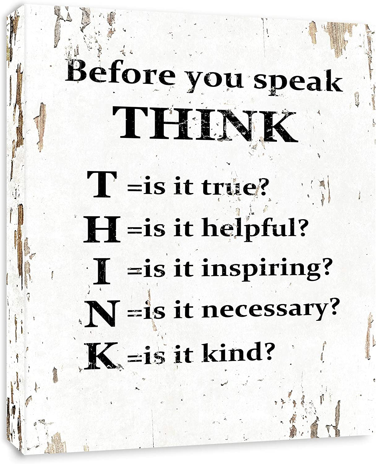 Before You Speak Think - Framed - Canvas Print Home Decor Wall Art, Gallery Wrap Inner Frame, White, 7x9