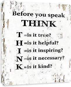Before You Speak Think - Framed - Canvas Print Home Decor Wall Art, Gallery Wrap Inner Frame, White, 7x9