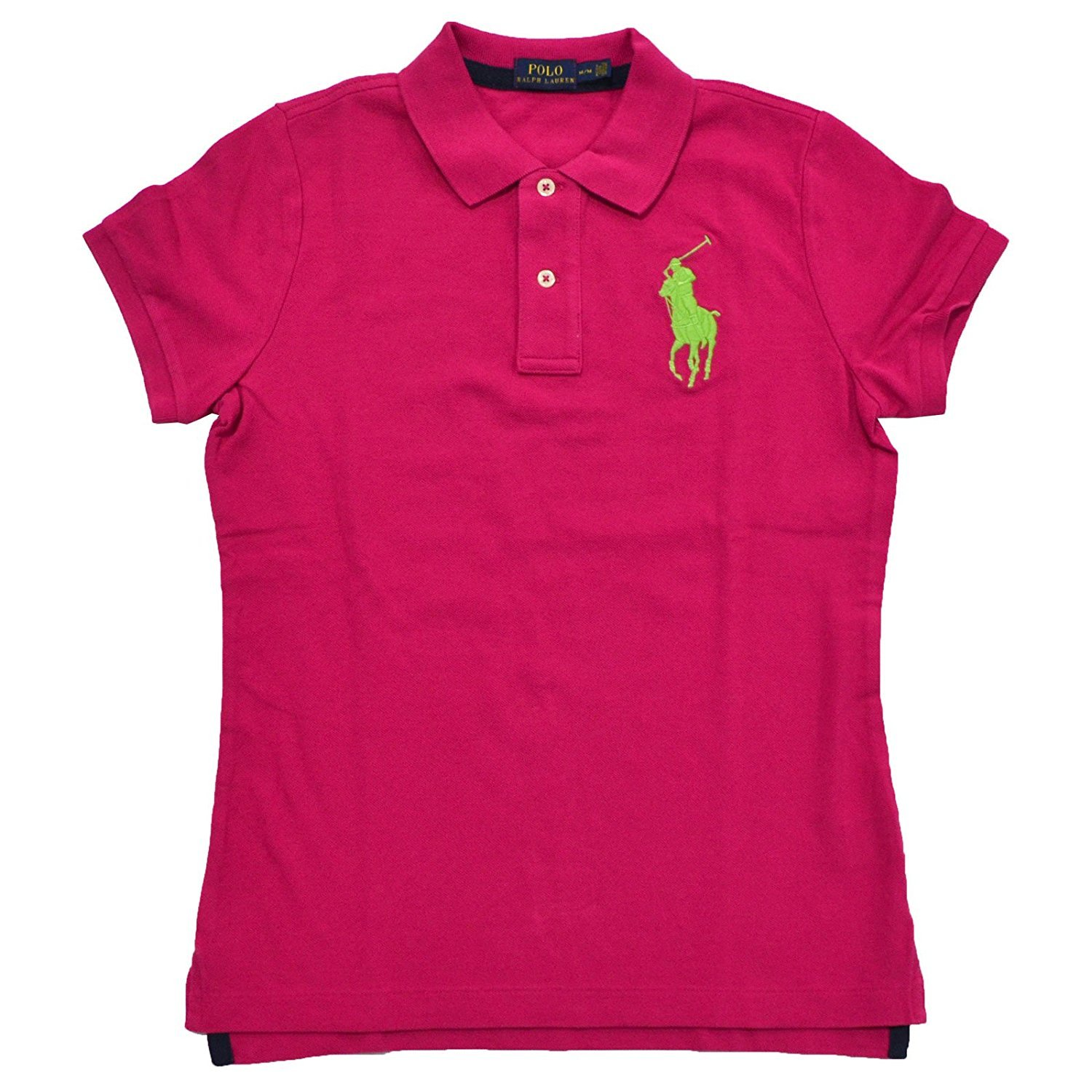Polo Ralph Lauren Womens Big Pony Polo (Small, Hibiscus Pink Lime Green Pony)