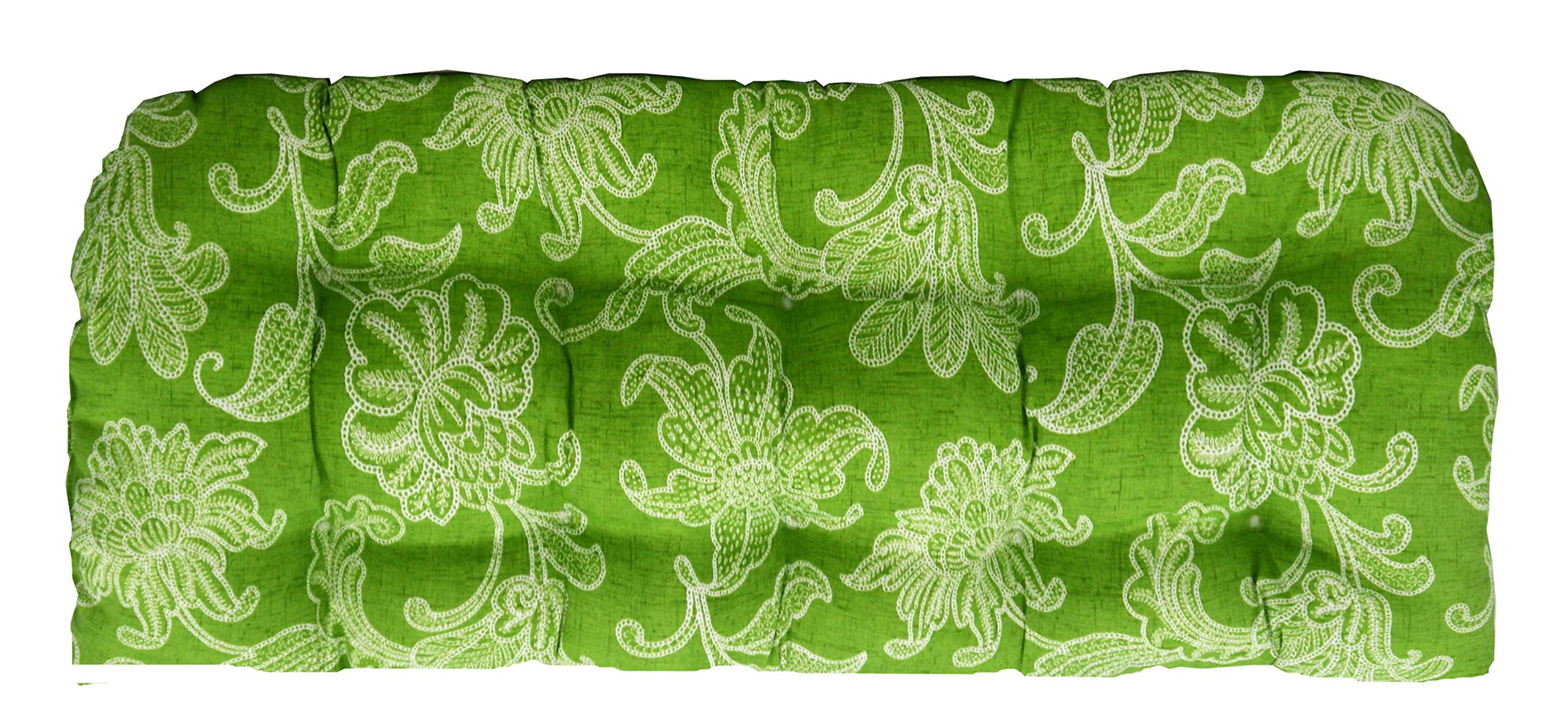 RSH Décor Indoor/Outdoor Wicker Chair Cushion Loveseat - Green and White Floral