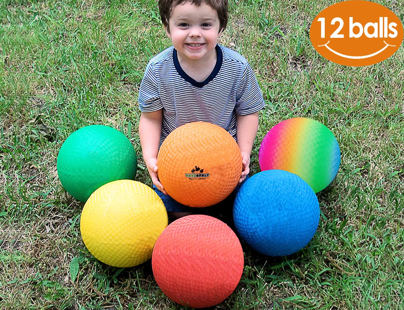 ToysOpoly Playground Balls 8.5 inch Dodgeball (Set of 12) Kickball for Kids and Adults - Official Size for Dodge Ball, Handball, Camps and Smart School + Free Pump & Mesh Bag by ToysOpoly