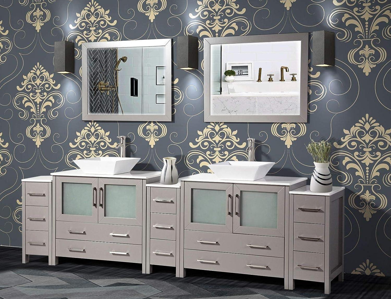 Amazon Com Vanity Art 108 Inch Double Sink Bathroom Vanity Compact Set 5 Cabinets 2 Shelves 13 Drawers Quartz Top And Ceramic Vessel Sink Bathroom Cabinet With Free Mirror Va3136 108 G Kitchen Dining