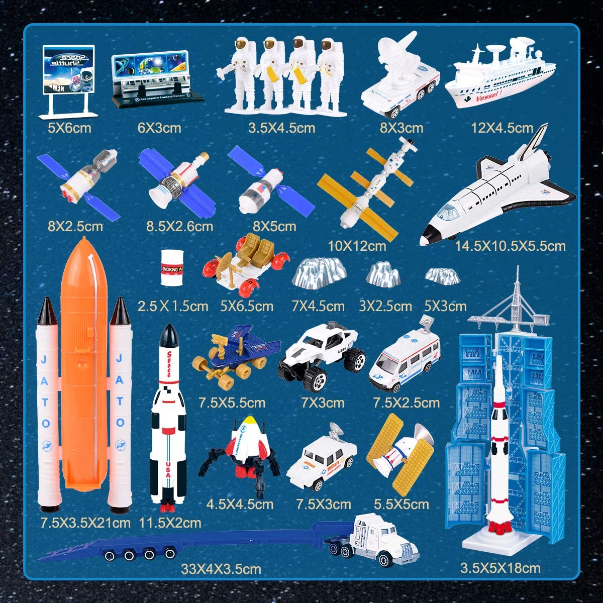 Learning Die-Cast Space Shuttle REMOKING Space Adventure Toy Playset Artificial Satellite,Explorer,Great Gifts for Kids 3 Years and up Educational Aerospace/Toy Series with Space Playmat