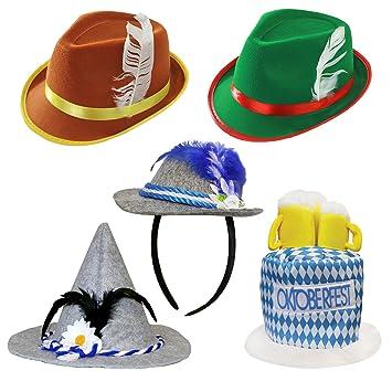 7f14cba8896cc 5 PACK ADULT GERMAN OKTOBERFEST FANCY DRESS HATS - SEPPEL HAT