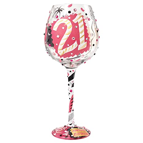 "d007d7b47ac Image Unavailable. Image not available for. Color  Designs by Lolita ""Bling  21"" Hand-painted Artisan Super Bling Wine Glass"