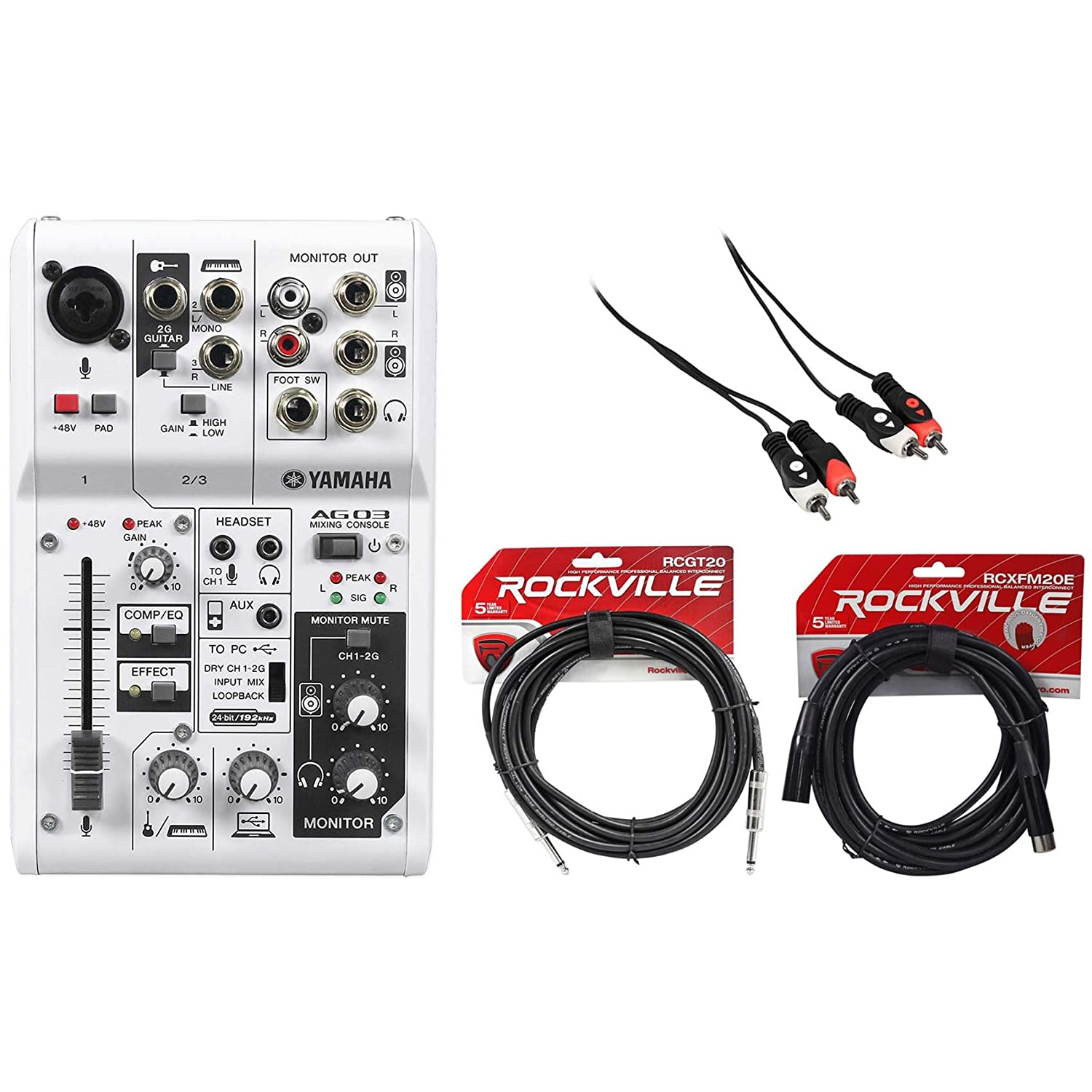 Package: Yamaha AG03 Portable USB Powered 3 Channel Portable Recording Mixer + Rockville RCGT20B 20' Nickel-Plated 1/4