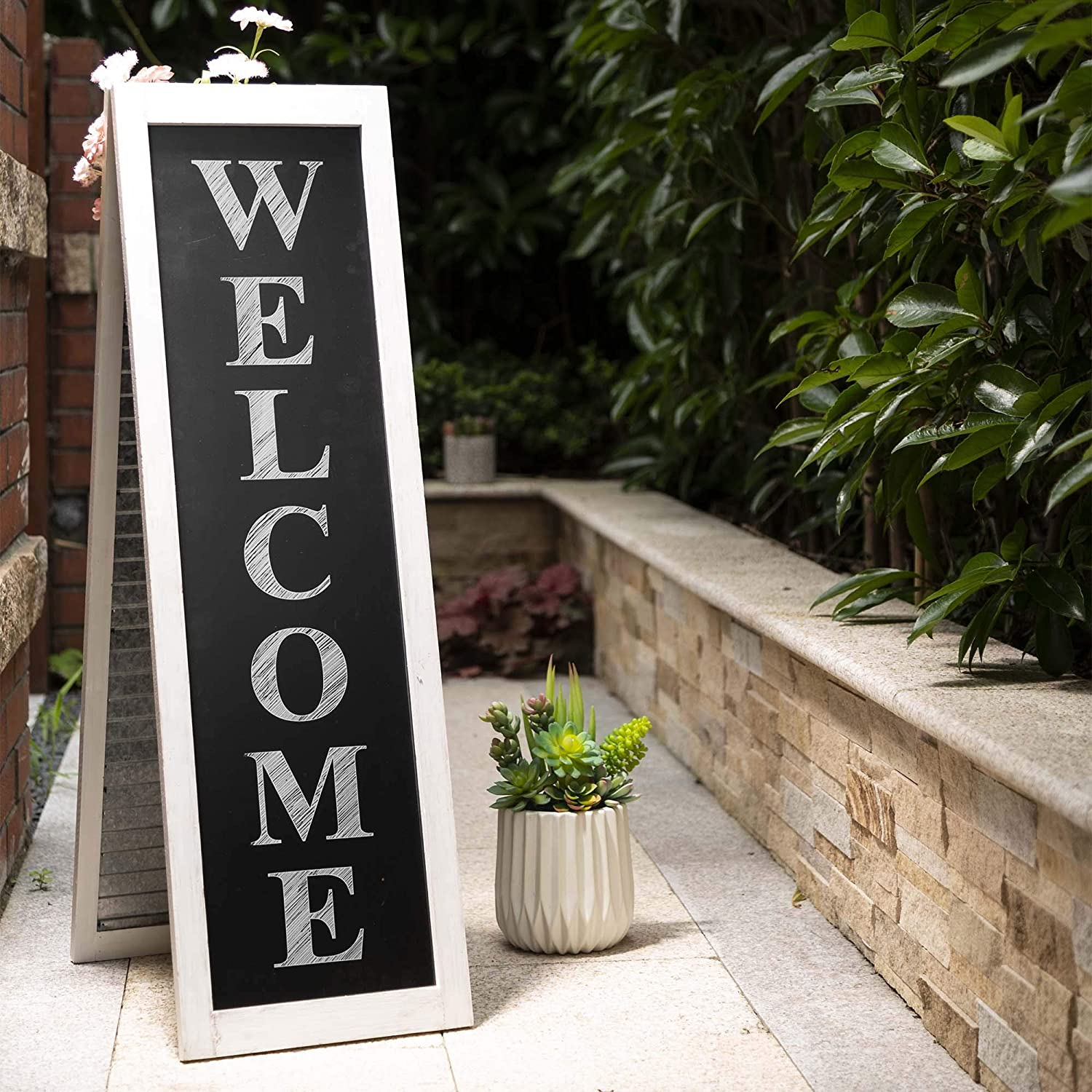 """Glitzhome Welcome Sign for Front Door Porch Rustic Wood A-Frame Yard Sign with Shutter Style Farmhouse Black Chalkboard Home Decor Sign with Metal Hanging Planters for Outdoor Indoor, 36""""H"""