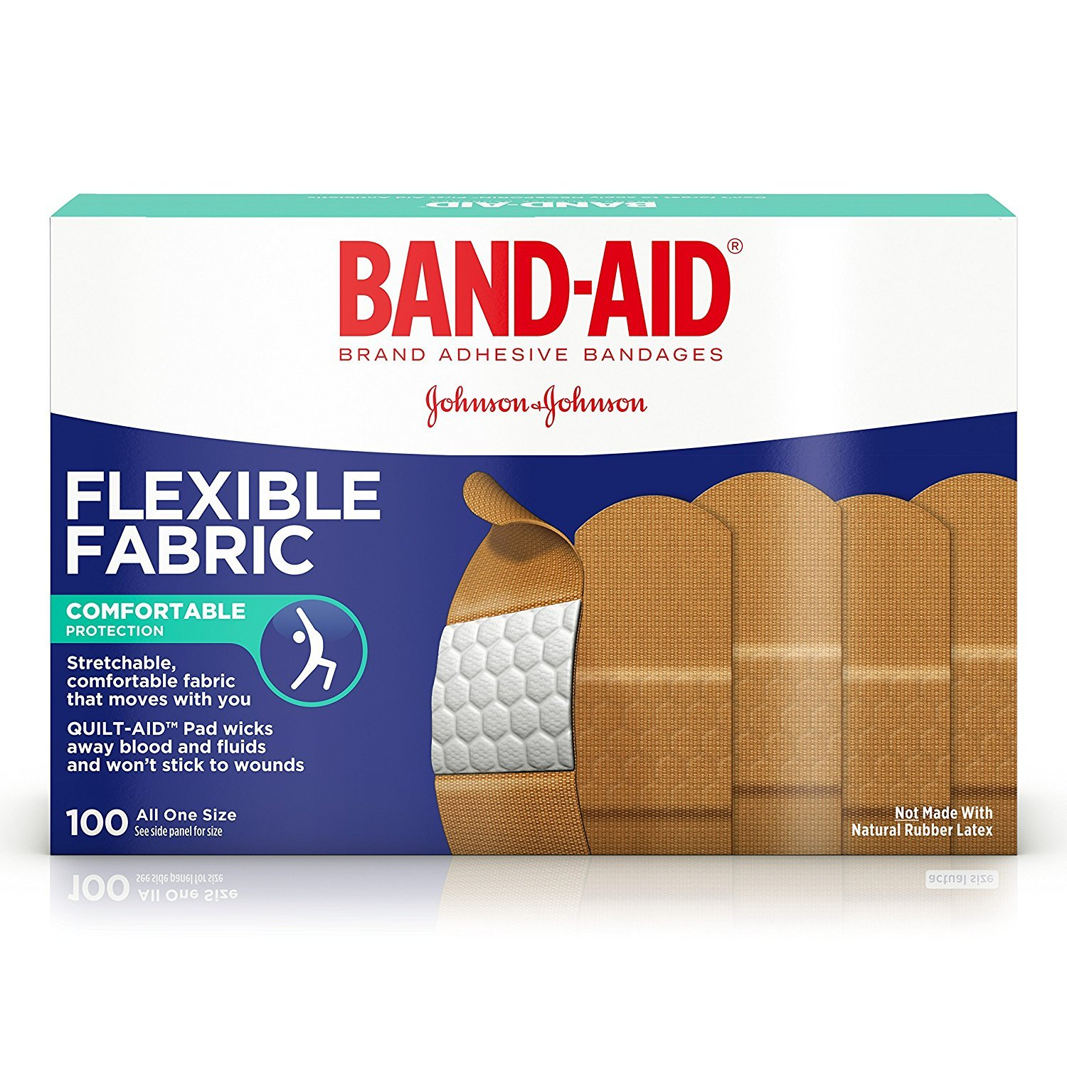 Band-Aid Adhesive Bandages, Flexible Fabric, All One Size 1 X 3 , 100 Count (Pack of 3) by Band-Aid