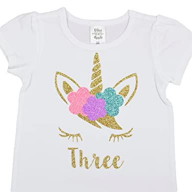 Girls 3rd Birthday Shirt Unicorn Face Three Short Sleeve Puff Sleeves With Glitter Gold Pink