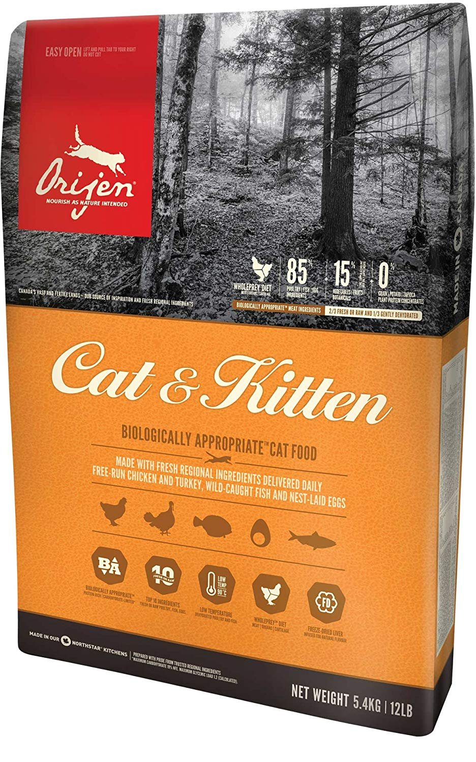 Orijen Cat & Kitten Dry Cat Food 12 LB. Bag. Good for All Stages of Life. (BIOLOGICALLY Appropriate | for All Life Stages) by Orijen