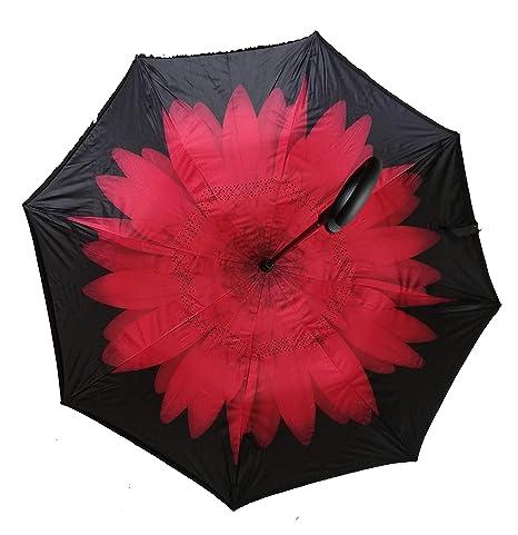 baa6dd06ae J.S Ondo Paraguas invertido, inverso, Manos Libres, Forma de C, Doble Capa