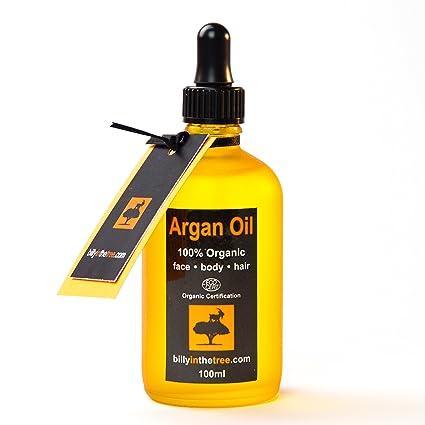 Aceite de Argán puro 100 ml. 100 % puro y certificado orgánico Ecocert. Para cara, cuerpo, pelo y uñas. Prensado en frío, calidad suprema, aceite marroquí: ...