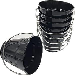 Italia 6-Pack Metal Bucket 3.7 Quart color Black Size 7.5 x 7.5