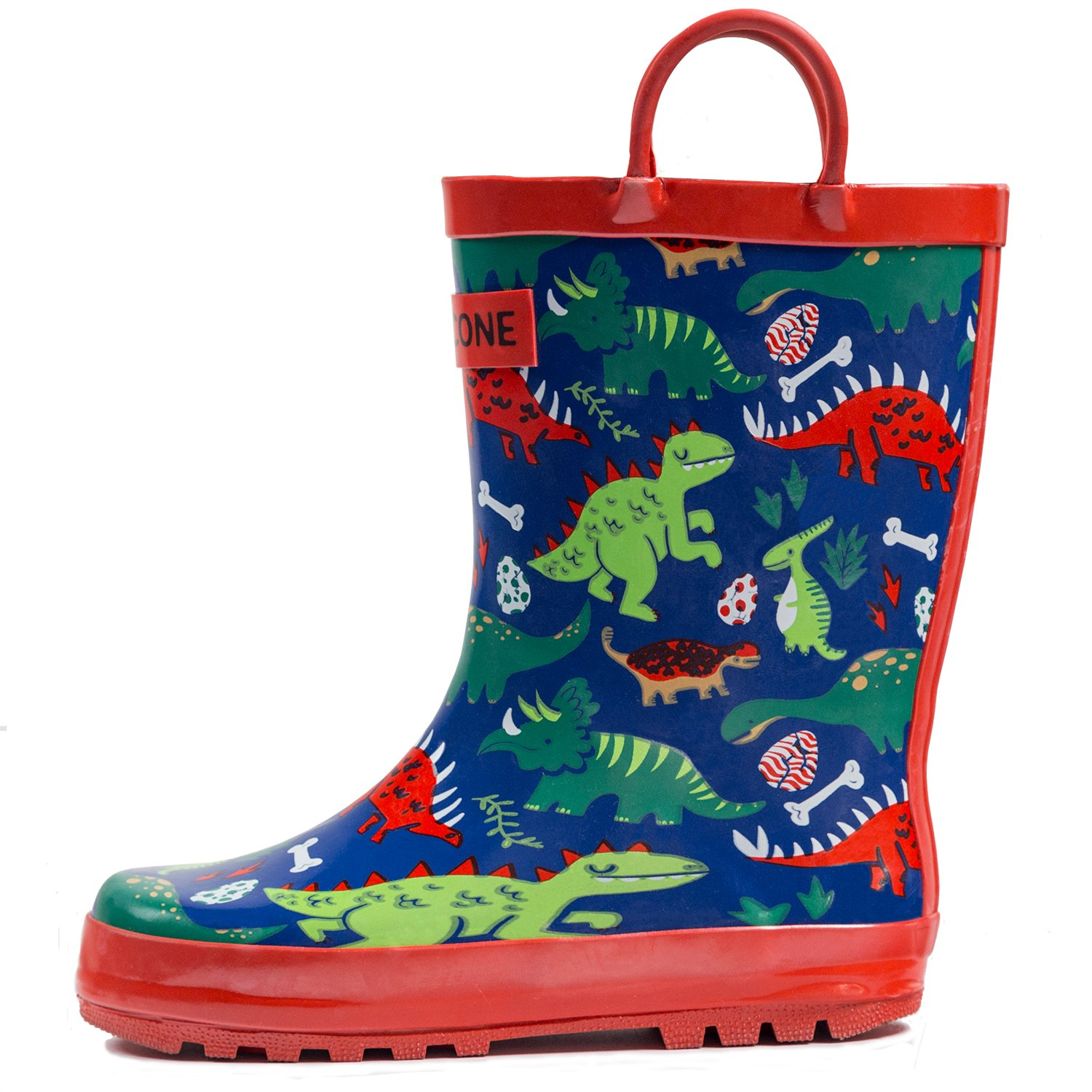 LONECONE Children's Waterproof Rubber Rain Boots in Fun Patterns with Easy-On Handles Simple for Kids, Puddle-a-Saurus Dinosaur, Toddler 8
