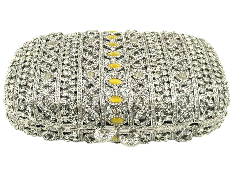 Carteras Bolso Mujer Noche Bolsas Fiesta Boda Brillo Mano Diamantes Cadena Embrague Plateado: Amazon.es: Equipaje
