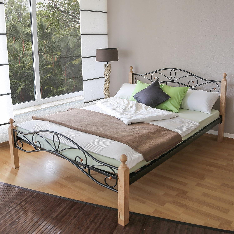 Bett Metallbett Bettgestell Doppelbett Bettrahmen Lattenrost Holz