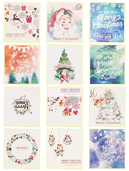 24 Pack Mini Christmas Greeting Cards Envelopes Cute Stweety Small Size 3 5 X 3 3 Merry Christmas Greeting Cards Festival Color 2 For Each