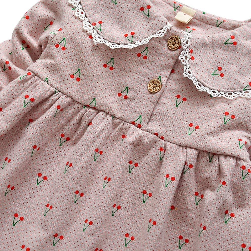 ESHOO Baby M/ädchen Kleid Langarm Winter Warm Fleece gef/üttert Prinzessin Kleid f/ür Kleine M/ädchen