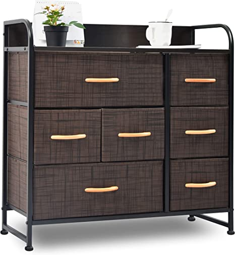 Charahome Drawer Dresser Brown Dresser Organizer With 7 Drawers Fabric Dressers For Bedroom Storage Tower For Hallway Entryway Closets Sturdy Steel Frame Wood Top Handles Kitchen Dining