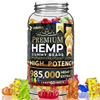 Hemp Gummies Premium 985,000 High Potency - Fruity Gummy Bear with Hemp Oil - Natural...