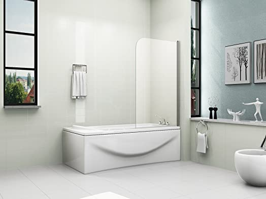 HNNHOME 180 Pivot Single Panel Over Bath Shower Screen 6 Mm Glass