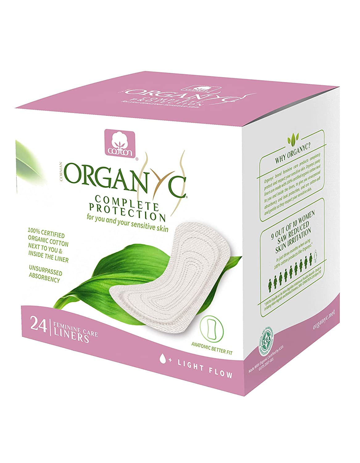 Organyc 100% Organic Cotton Panty Liners for Sensitive Skin, 24 Count